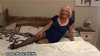 Blonde mature housewife in sexy black
