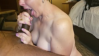 Wife gets a mouthful of her BBC husband's cum