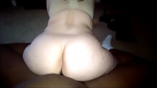 Pale White BBW Riding her Ebony partner