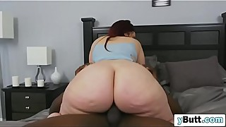 Flawless big butt brunette wife deep throat blowjob BBC husband closed door