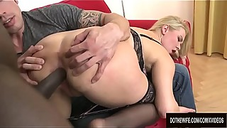Cuckold Spreads Her Ass Cheeks as Blonde Wife Nikky Dream Takes BBC Anally