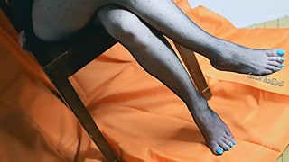 My Asian Wife Just Relaxing With Her Black Fishnets And Long Blue Nails