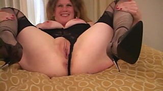 Amateur housewife with black
