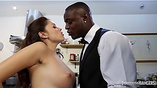 Interracial kitchen sex shows British housewife Ava Dalush ride black dick