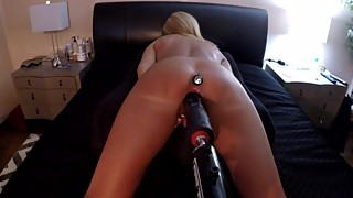 HOT WIFE DOGGY STYLE WITH BLACK DILDO FUCK MACHINE - BUTT PLUG