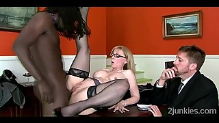 Big stacked Jaguar pumped by her sons black boss in the office
