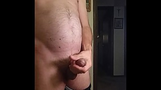 Man in black wife's tights big dick huge bulge post orgasm pain