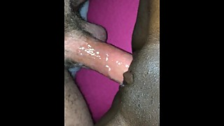 White husband wanking and cumming in his black wife pussy