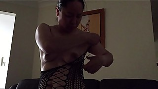 Asian MILF - Getting Ready for Fuck Session in Black Stockings